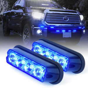 4 Led Emergency Truck Side Marker Flash Strobe Light Deck Dash Grille Blue 2 Pc