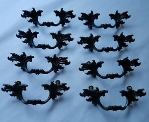Vintage Antique Brass Ornate Drawer Pulls Handles 63 3336 Set Of 8