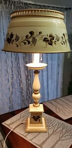 Antique Table Lamp Toleware W Metal Shade Wooden Base Hand Painted