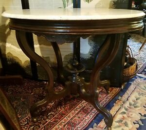 Large Mahogany Victorian Oval Marble Top Center Parlor Lamp Table C1870 S