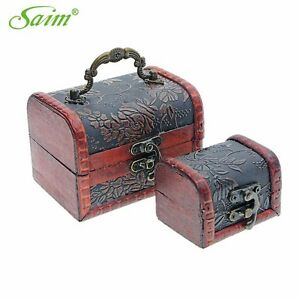 2 Pcs Retro Wooden Box With Lock Necklace Jewelry Storage Box Collection Boxes