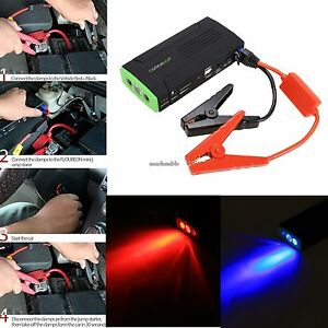 12v Portable Auto Car Jump Starter Power Bank Battery Charger Us Free Shipping