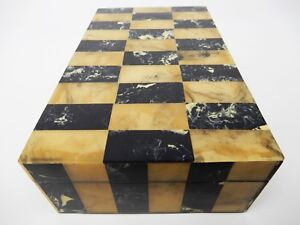 Vintage Jewelry Trinket Stash Resin Wood Marbleized Checker Board Pattern Box