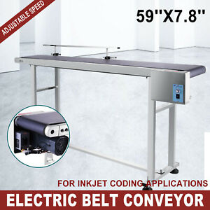 110v Electric Pvc Belt Conveyor 59 x 7 8 Heavy Duty Powered Rubber Equipment