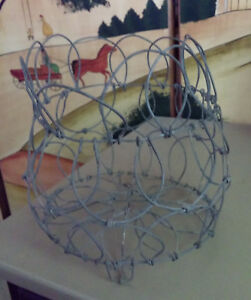 Antique Footed Wire Collapsible Egg Basket Folding Bowl Shape Able Patina