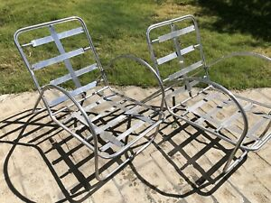 Richard Neutra Art Deco Aluminum Chairs 30 S Machine Age Rare Indoor Outdoor