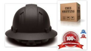Full Brim Hard Hat Construction Safety Helmet Strong Suspension Matte Black New