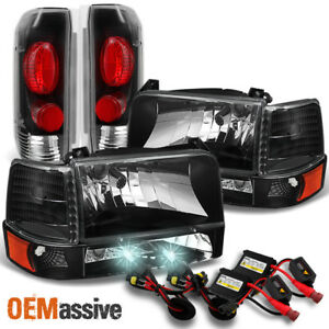 Fit 1992 96 Bronco F150 F250 F350 Black Headlights Taillights 8000k Hid