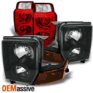 Fit 06 10 Jeep Commander Suv Black Headlights Red Clear Tail Lights Combo