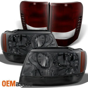 Fits 99 04 Jeep Grand Cherokee Smoked Headlights Dark Red Tail Lights Pair Set