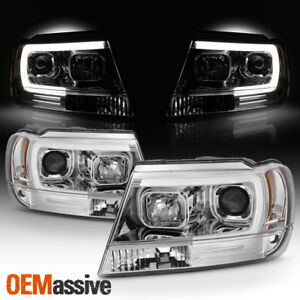 Fits 1999 2004 Jeep Grand Cherokee Chrome Full Led Drl Tube Projector Headlights