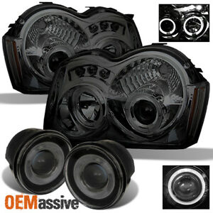 Fits Smoked 05 07 Jeep Grand Cherokee Halo Projector Headlights halo Fog Lamps