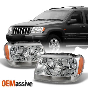 Fits 99 04 Jeep Grand Cherokee Replacement Headlights Headlamps Left Right