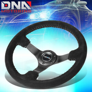Nrg Rst 036mb S Sl 350mm 3 Deep Dish Black Suede Silver Stitch Steering Wheel