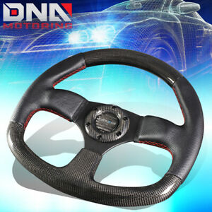 Nrg St 009cfrs 320mm Carbon Fiber leather Red Stitch Flat Bottom Steering Wheel