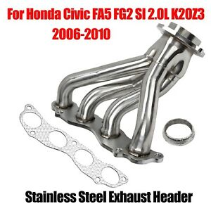 For Honda Civic 2006 2010 Fa5 Fg2 Si 2 0l K20z3 Stainless Steel Header
