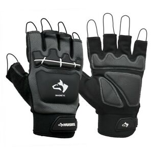 Fingerless Mechanic Glove Magnetic L Leather Nonslip Grip Safety Cuff Black New