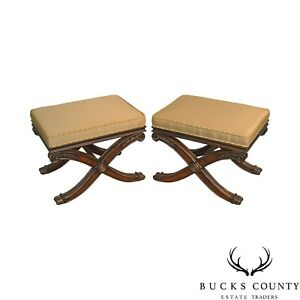 Ethan Allen Regency Style X Base Pair Of Benches Stools