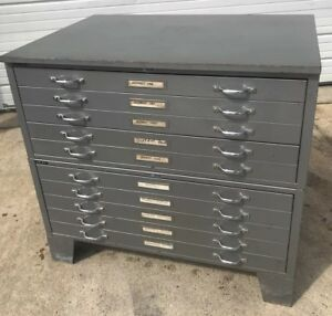 Vintage Mayline 10 Drawer Flat File Blueprint Cabinet 40 75 w X 29 25 d X 37 5