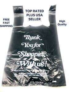 850 Black Thank You Plastic T shirt Bags 1 8 Retail Shopping Bags 10 X 6 X 18