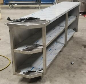 14 X 96 Stainless Steel Storage Dish Cabinet Clipped Corner Open Front