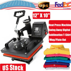 Digital Heat Press Machine Sublimation T shirt Mug Plate Hat Printer 12x10 Usa