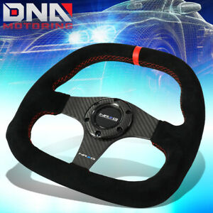 Nrg St 019cf 320mm Carbon Fiber Suede Red Stitching Steering Wheel Flat Bottom