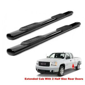 5 Black Running Boards For 99 18 Silverado Sierra Ext Double Cab Side Step Bars
