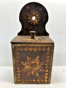 Antique Inlaid Marquetry Salt Box Wood Folk Art Wall Hanging Country Spice Box