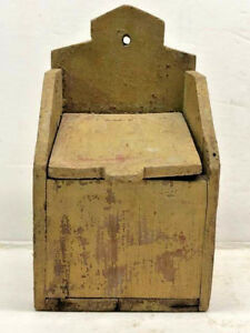 Primitive Mustard Yellow Paint Salt Or Spice Wood Wall Hanging Pantry Box W Lid