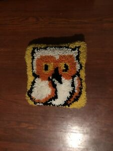 Awesome Vintage Latch Hook Mid Century Owl Pillow