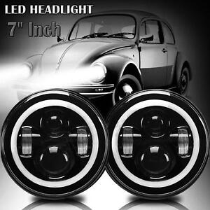 Fit Volkswagen Vw Beetle Classic 7 Inch Led High Low Cree Beam Round Headlights