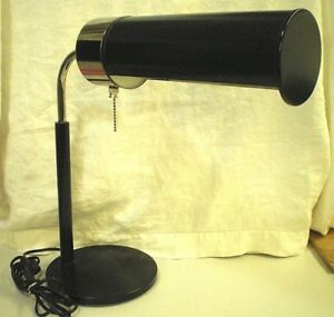 Vtg Nessen Mid Century Modern Mcm Chrome Black Tube Cylinder Table Desk Lamp