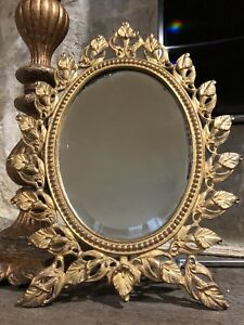 Victorian Tabletop Brass Beveled Mirror Frame Ornate W Easel Stand Rare