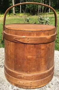 Antique Wooden Firkin Sugar Bucket W Swinging Handle Cover 11 75 H Prim Decor