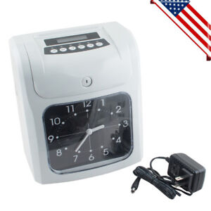 Electronic Employee Attendance Punch Time Clock Payroll Recorder Lcd Display Usa