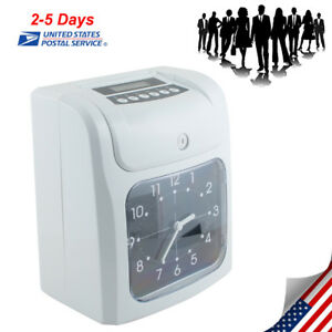 Office Electronic Time Clock Card Machine Employee Work Hours Recorder Us Ship