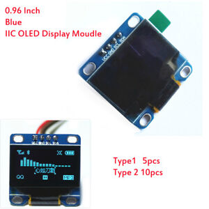 5 10pcs 0 96 Inch Blue I2c Iic Serial Oled Lcd Led Display Module For Arduino