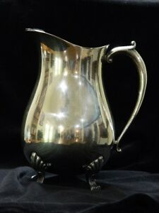 Vintage Leonard Silver Plate Footed Water Pitcher With Ice Lip 9 Tall