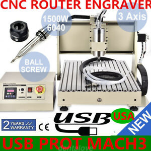 1500w Vfd 3 Axis Usb Cnc 6040 Router Engraver Engraving Metal Drill Mill Machine