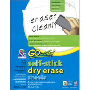 6 Ea Dry Erase Sheets Self Stick 8 5x11