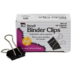 60 Bx Binder Clips 12 Per Bx Small 3 8in Capacity