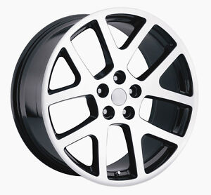 20 Machined Black Viper Wheels 300c Challenger Charger Chrysler Rims New 4 Set