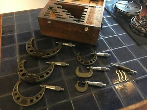 Vintage Mitutoyo 0 6 Micrometer Set No 103 907 With Wooden Case