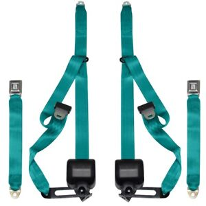 1968 73 Chevelle 3 Point Seat Belts Bench Starburst Turquoise