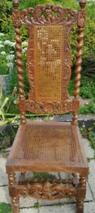 Circa 1880 Early French Renaissance Naked Cherub Carved Hall Chair Barley Twist