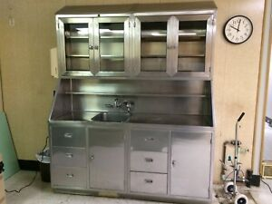 Medical Food Grade Stainless Steel Cabinet With Sink And Glass In Upper Doors