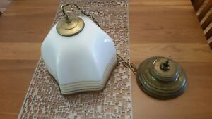 Vtg Murano Glass Brass 10 Electric Fixture Shaded Chandelier White Gold Stripes