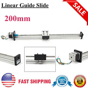 Cnc Linear Actuator 200mm Linear Guide Lead Screw Sliding Block W Stepper Motor
