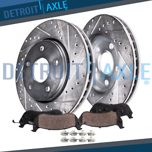 Front For 5 Lug 2005 15 Toyota Tacoma Drilled Slotted Rotors Ceramic Brake Pads